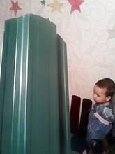 Забор штакетник трапециевидный металлический зелёный двухсторонний глянец - длинна от 50 см до 2 метров.