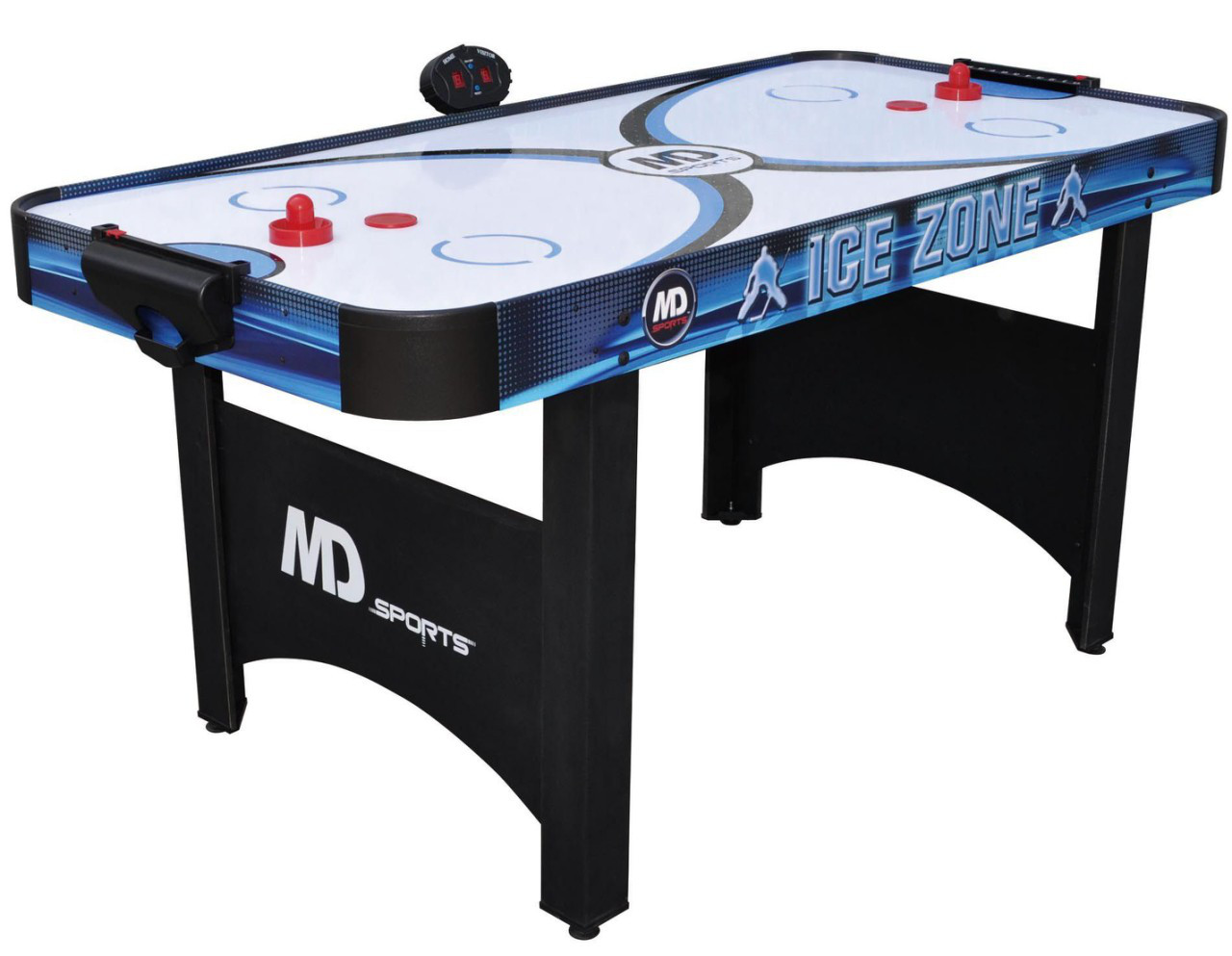 Аэрохоккей Ice Zone 2 в 1, с теннисной крышкой и электронным счетчиком - 168 х 81 х 80 см