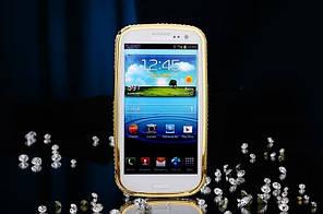 Бампер металлический с кристаллами для Samsung S3