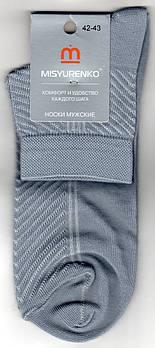 Шкарпетки чоловічі х/б з сіткою Місюренко, М11В111П, 27 розмір, середні, світло-сірі, 02294