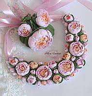 """Свадебный комплект """"Розово-персиковые пиончики""""(бутоньерка+ колье), фото 1"""