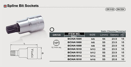 """Головка с насадкой SPLINE M6 L55mm 1/2"""" TOPTUL BCHA1606, фото 2"""