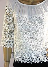 Блузка біла шифонова з мереживом Fi-ha-ha, фото 2