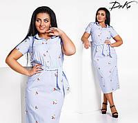 Женское платье батальное с вышивкой. Размер 50.52.54.56 Ткань: коттон, цветок вышивка