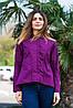 Женская рубашка удлиненная спинка с длинным рукавом фиолетового цвета, фото 2