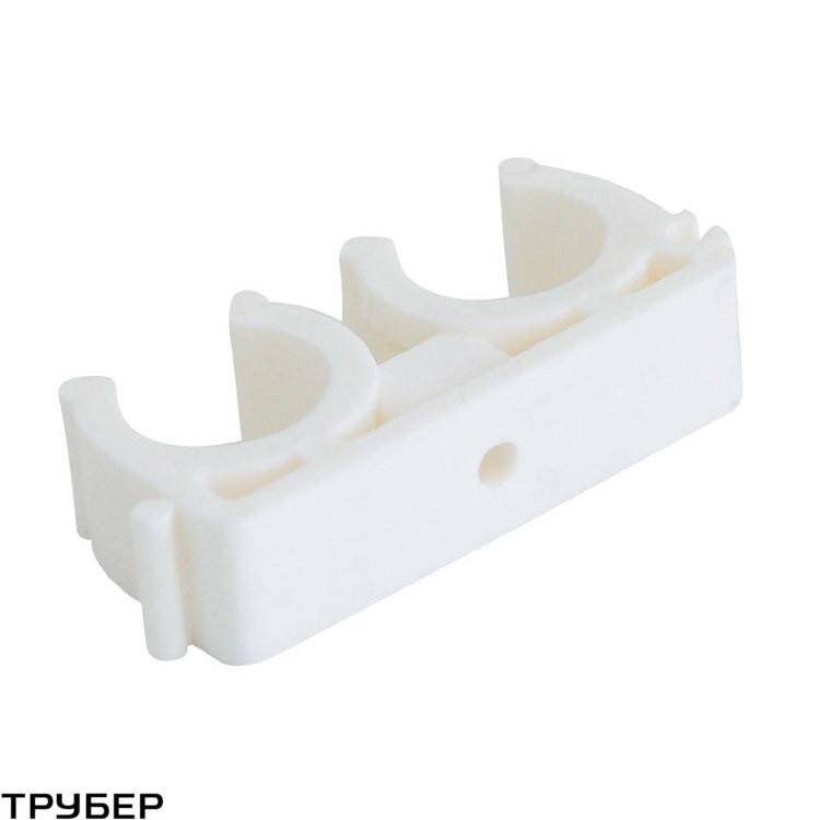 Крепление  для полипропиленовых труб D 32-34  двойное KALDE (белое)