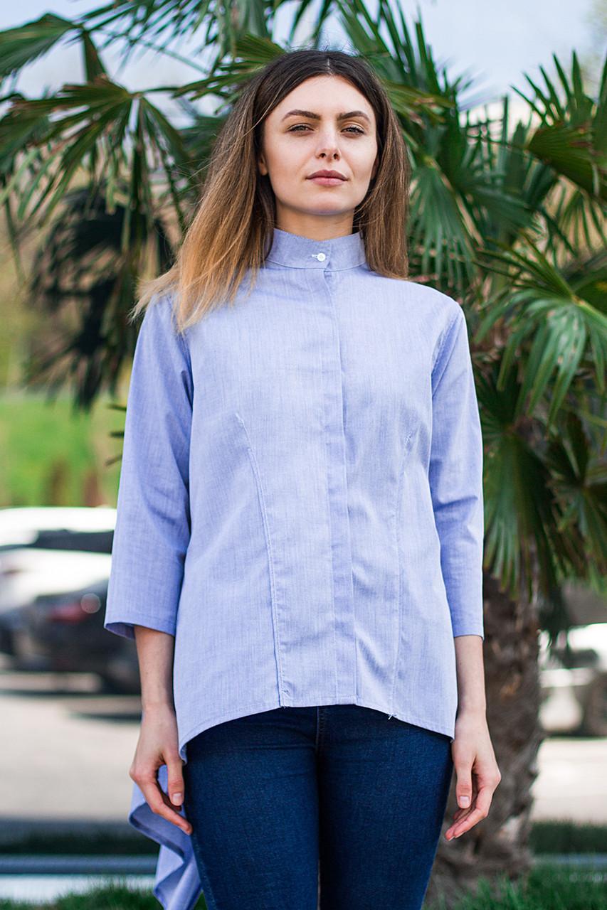 Женская рубашка удлиненная спинка с длинным рукавом голубого цвета