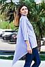 Женская рубашка удлиненная спинка с длинным рукавом голубого цвета, фото 2