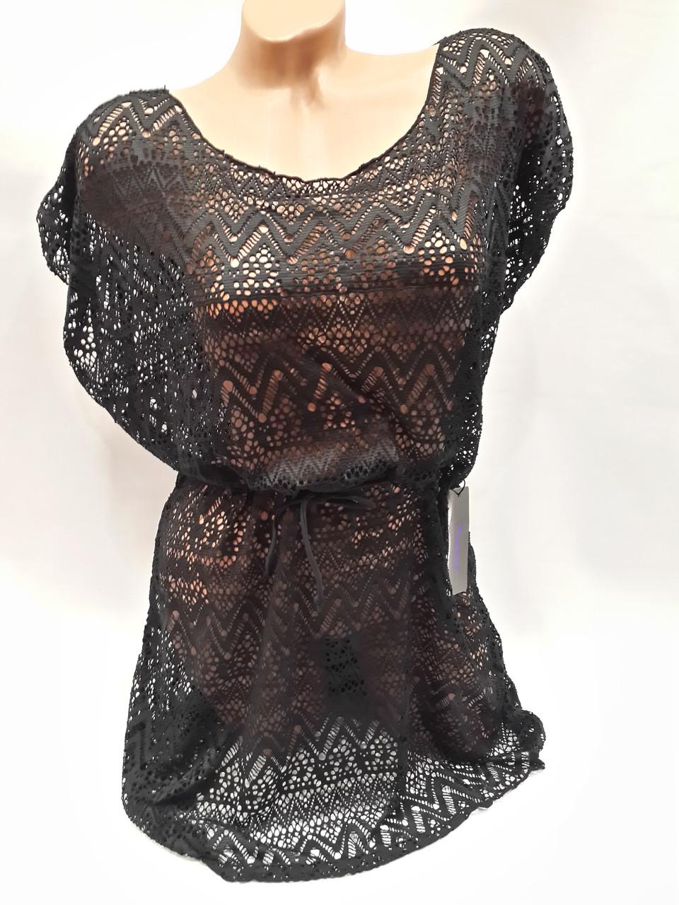 Платье пляжное Келли 1794 черное на наши 48-52 размеры.