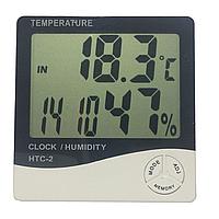 Термометр цифровой с влажностью и часами (HTC-1)