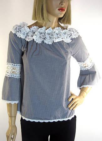 Блузка в клітинку з мереживом, фото 2