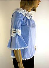 Блузка в клітинку з мереживом, фото 3