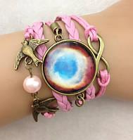 Браслет Infinity Млечный путь птицы розовый 05/бижутерия/цвет розовый/материал текстиль, кожа