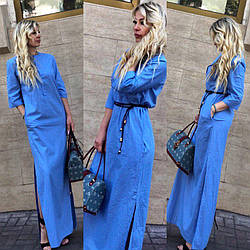 Длинное женское платье -рубашка из облегченного льна