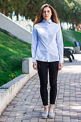 Деловая женская рубашка голубого цвета с длинным рукавом, размеры S - XL