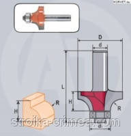 Фреза кромочная калевочная с подшипником Кратон PROFESSIONAL O25,4 мм