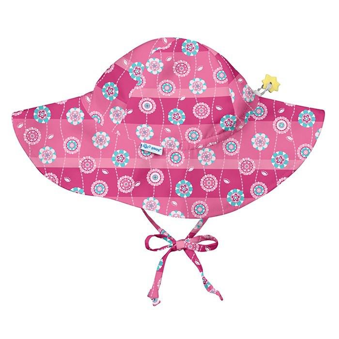 I Play - Солнцезащитная панамка Hot Pink Stripe Flower, 9 - 18 месяцев
