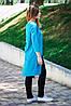 Асимметричная туника голубого цвета с удлиненной спинкой, рукав 3/4, размеры S - XL, фото 2