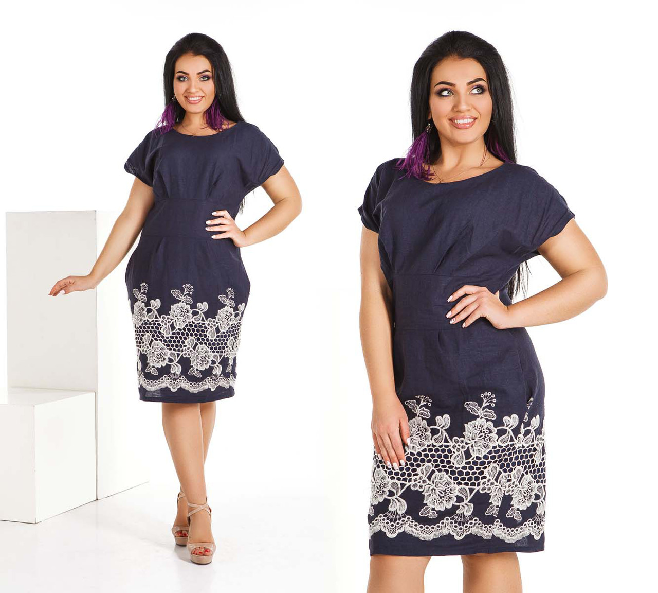 f5cb8c8491f Летнее стильное женское платье в больших размерах 4116-1