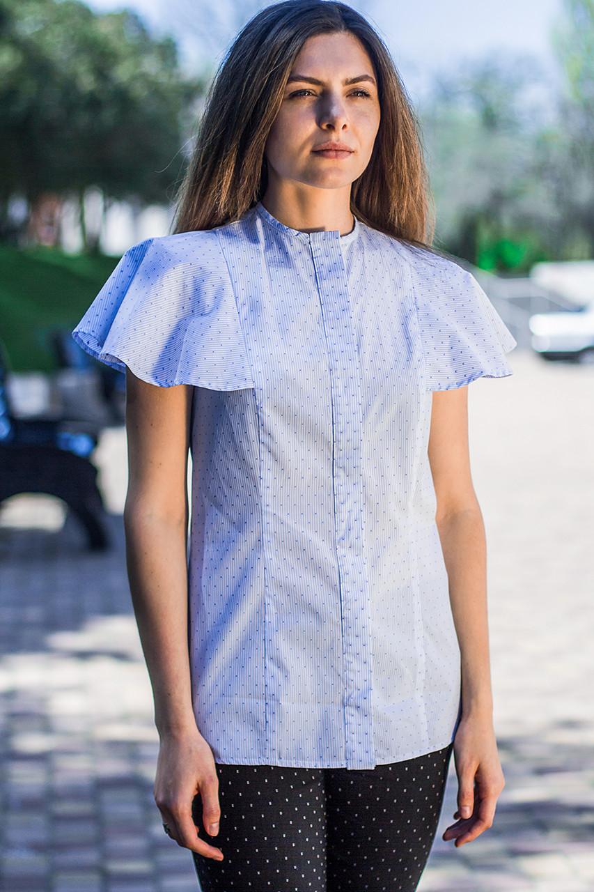 Женская блуза в горошек голубого цвета