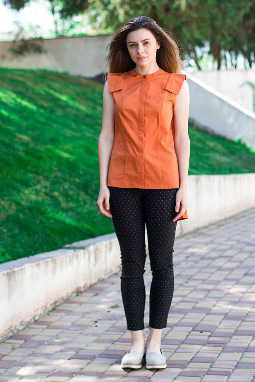 Женская блуза с удлиненной спинкой оранжевого цвета