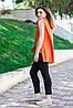 Женская блуза с удлиненной спинкой оранжевого цвета, фото 2