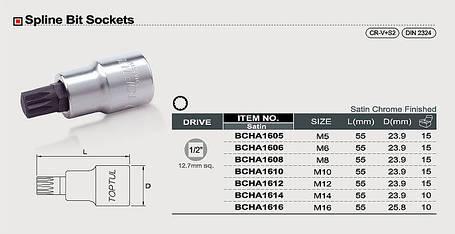 """Головка с насадкой SPLINE M16 L55mm 1/2"""" TOPTUL BCHA1616, фото 2"""