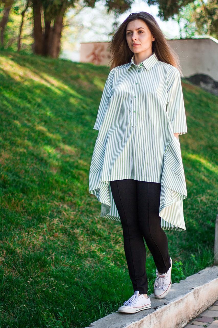 Женская рубашка туника в зеленую полоску с удлиненной спинкой, рукав 3/4, размеры S - XL