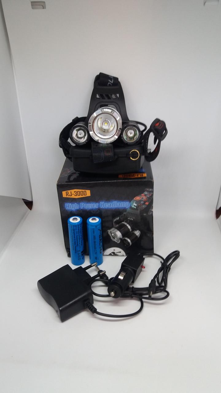 Налобный фонарь Bailong BL-RJ3000-T6 сверхяркий на двух аккумуляторах типа 18650