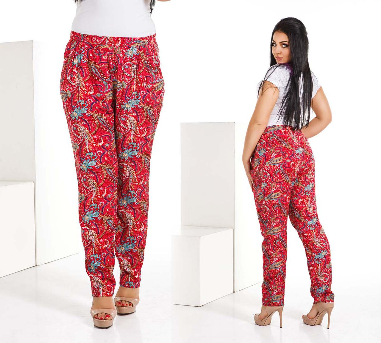 """Стильні літні жіночі штани у великих розмірах 4107 """"Турецькі Огірки"""" в кольорах"""
