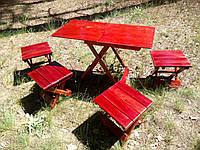 Стол раскладной со стульчиками в чехле из дерева