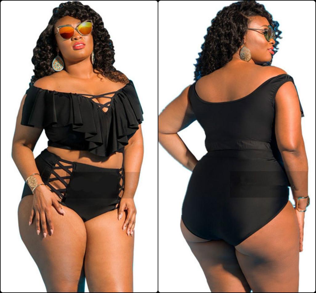 Женский купальник больших размеров, топик с рюшами, плавки высокой пос