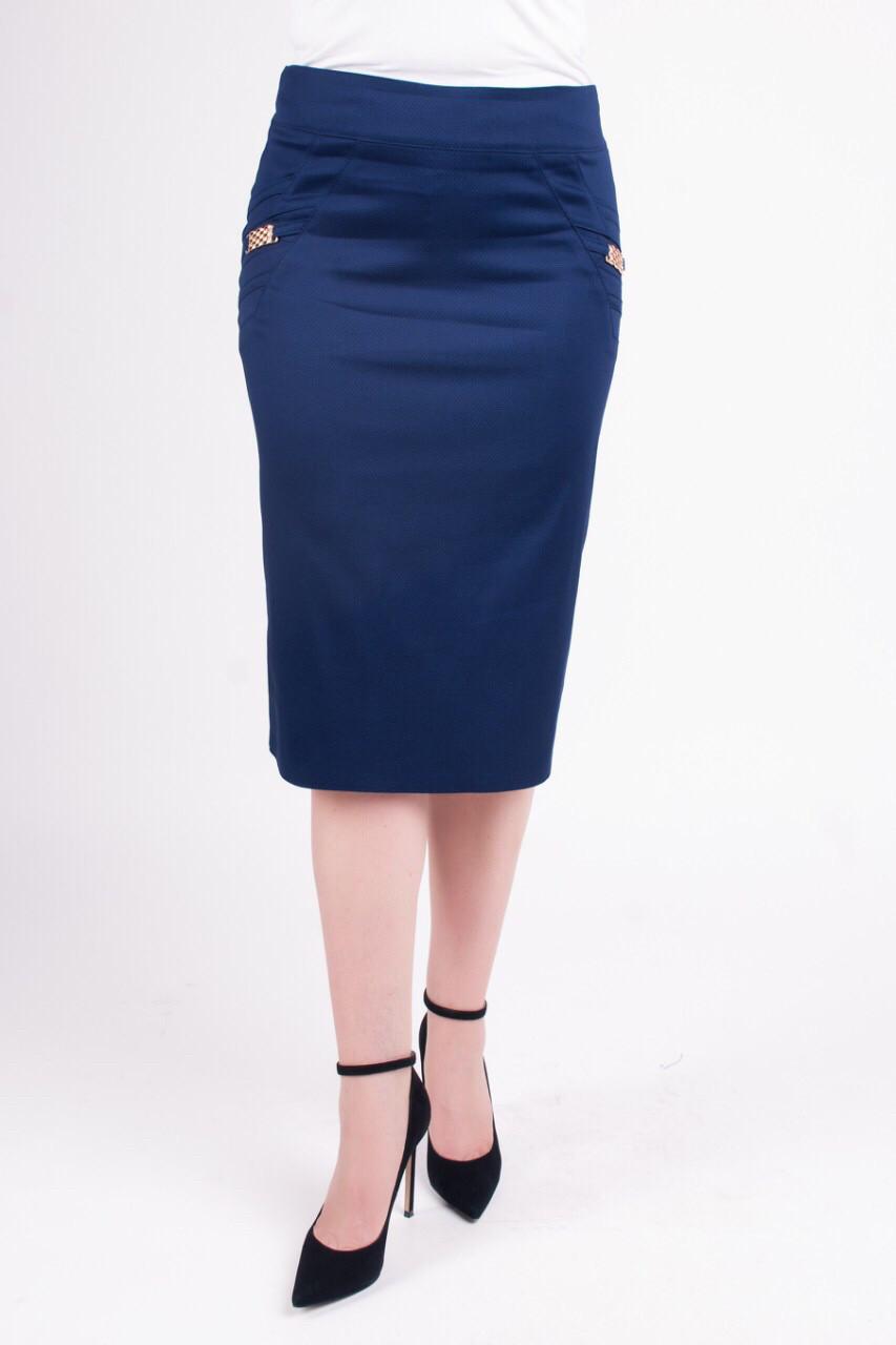 Женская прямая юбка Паула синего цвета