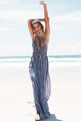 Пляжная туника женская.Ткань шифон.Цвет: темно-синий и светло-серый L, XL.AB 1006