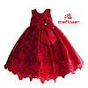 Нарядное красное детское  платье из красивого кружева с бантом