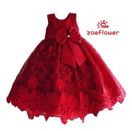 Нарядное красное детское  платье из красивого кружева с бантом , фото 2