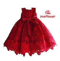 1bf5f58724e27cc Нарядное красное детское платье из красивого кружева с бантом , фото 2