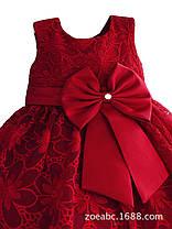 Нарядное красное детское  платье из красивого кружева с бантом , фото 3