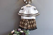 Костюм для девочки футболка с открытыми плечами и шорты, фото 2