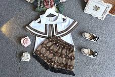 Костюм для девочки футболка с открытыми плечами и шорты, фото 3