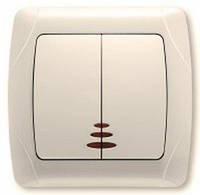 VIKO Carmen Выключатель 2-х клавишный с подсветкой крем