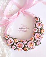 """Колье с цветами """"Розово-персиковые пионы"""""""