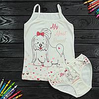 Комплект детский Donella с собачкой белый для девочки на 2/3 года