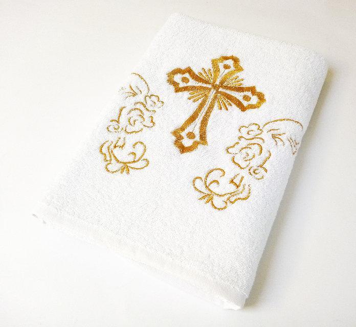 Крыжма Lotus вышивка - Белый с золотом 70*140 (16/1) 400 гр/м2 оптом