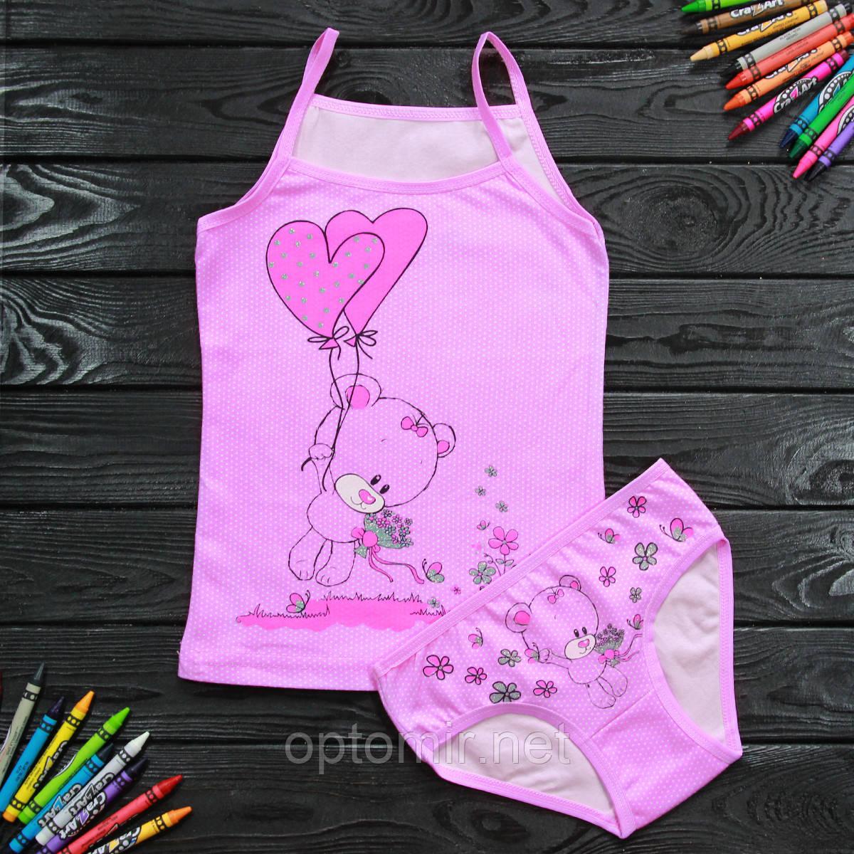 Комплект дитячий Donella з мишком рожевий для дівчинки на 6/7 років