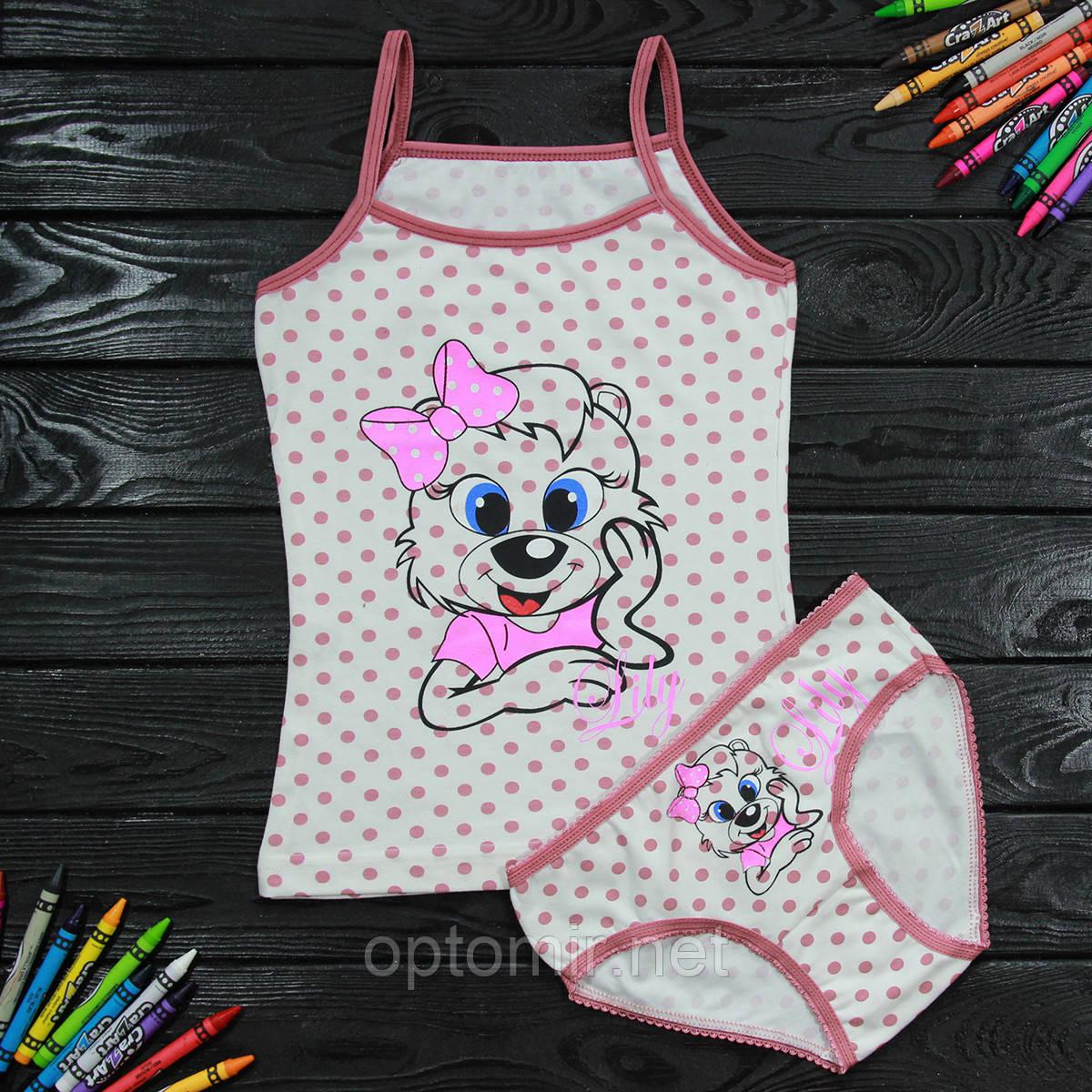 Комплект детский Donella с принтом светло-бордовый для девочки на 4/5 лет
