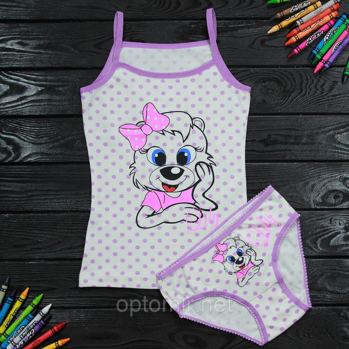 Комплект дитячий Donella з принтом світло-бузковий для дівчинки на 4/5 років