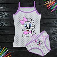 Комплект дитячий Donella з принтом світло-бузковий для дівчинки на 6/7 років