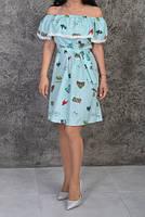 Женское летнее платье цвет светлая бирюза