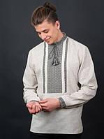 Мужская вышиванка с длинным рукавом на льне